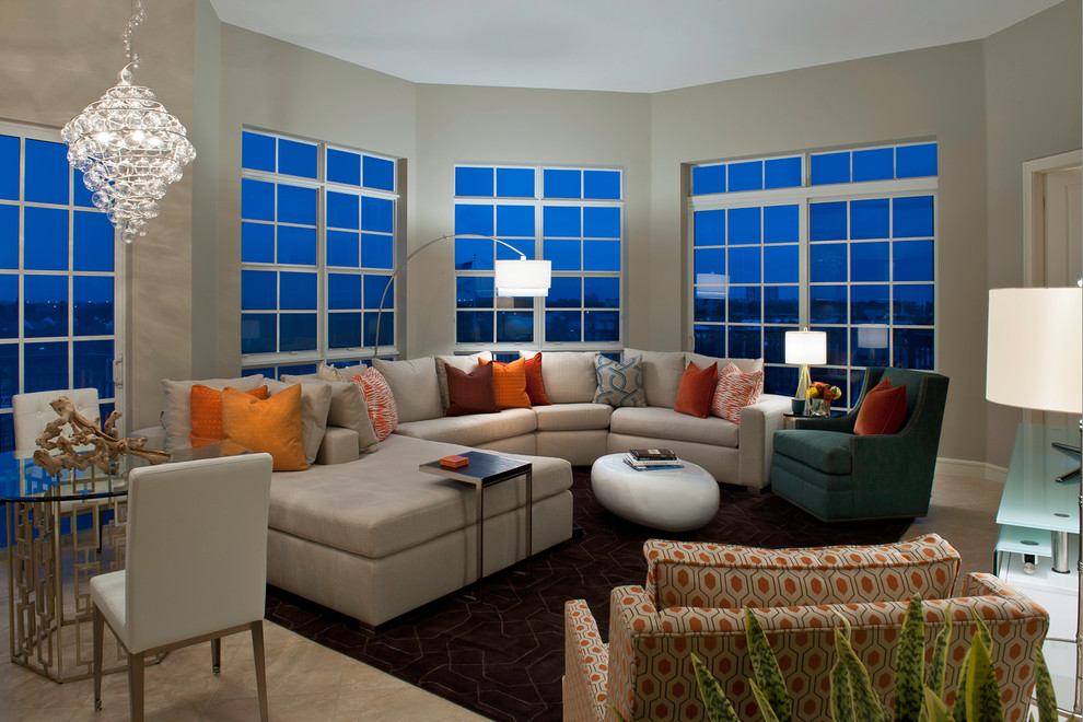 Cream Leather Sectional Living Room Contemporary with Accent Tables Area Rug Arm Chairs Beige