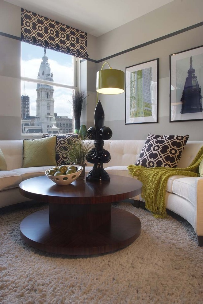 Cream Leather Sectional Living Room Contemporary with Arc Lamp Artwork Black and White Carpeting