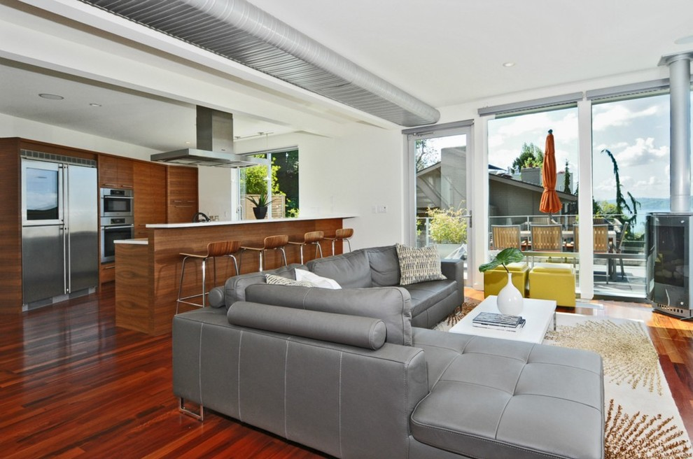 Cream Leather Sectional Living Room Modern with Cabinets Wood Floor Dark Wood Cabinet Dark