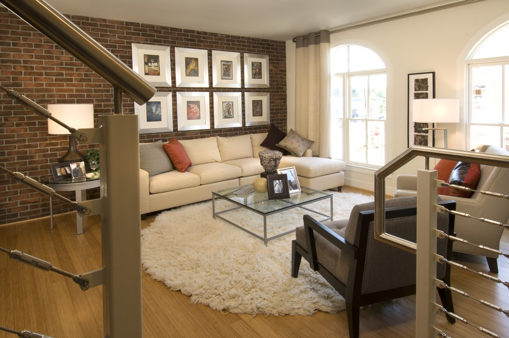 Exceptional Cream Shag Rug Living Room  Contemporary With Arch Windows Art Wall Beige Lounge Chair