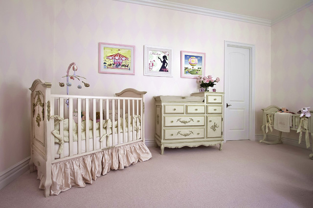Crib Dust Ruffle Nursery Traditional with Baby Mobile Baby Room Capped Baseboard Chest of Drawers