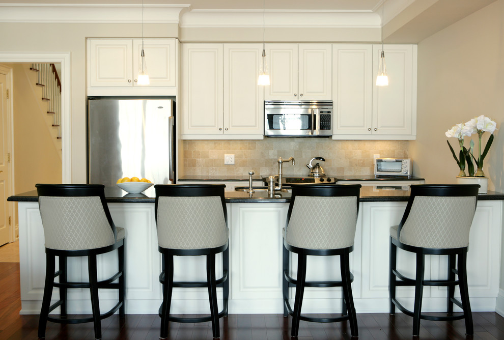 Crown Molding Styles Kitchen Traditional with Bar Stools Beige Cabinets Classic Condo Dark