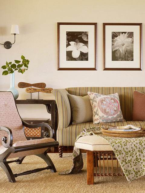 crypton sofa Family Room Tropical with beige throw pillow beige wall dark wood armchair floral