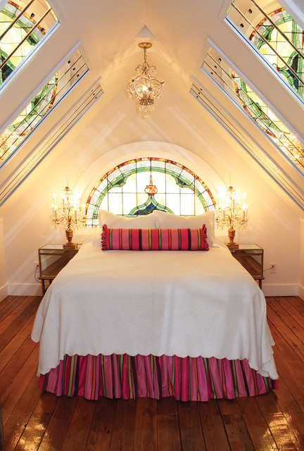 crystal whiskey glasses Bedroom Victorian with arched window attic bedroom crystal chandelier stained glass window