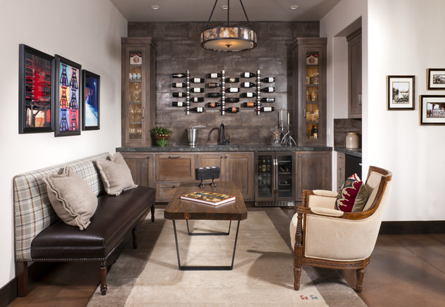 Crystal Wine Decanter Family Room Rustic with Armchair Bench Coffee Table Contemporary Rustic Pendant Chandelier Rug