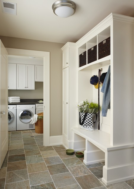 Cubby Storage Unit Laundry Room  Traditional With Beige Walls Built In Shelves Ceiling Lighting Flush Mount Sconce