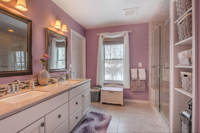 Cultured Marble Bathroom Traditional with Baskets Bath Mat Bathroom Chrome Faucet Cultured Marble Countertops