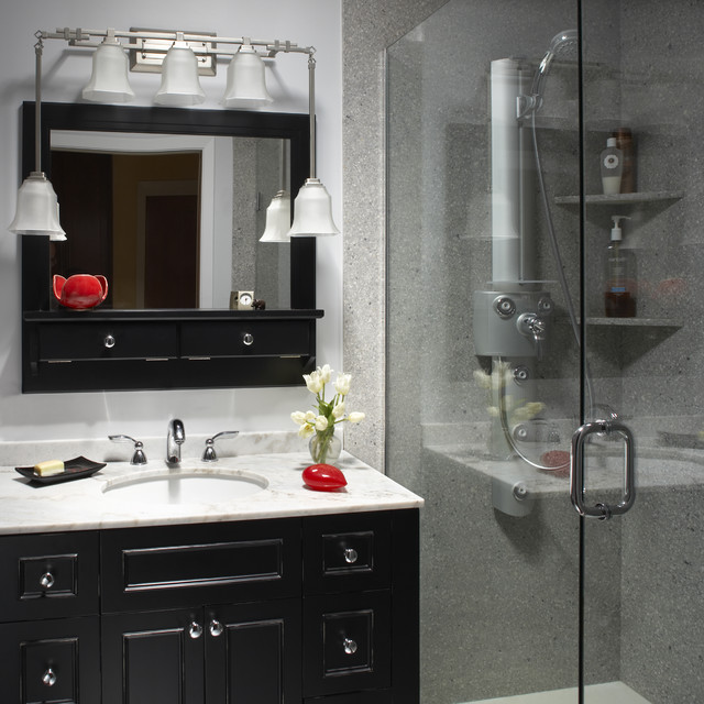 Cultured Marble Spaces Asian with Black and White Black Vanity Faucet Glass Shower Gray