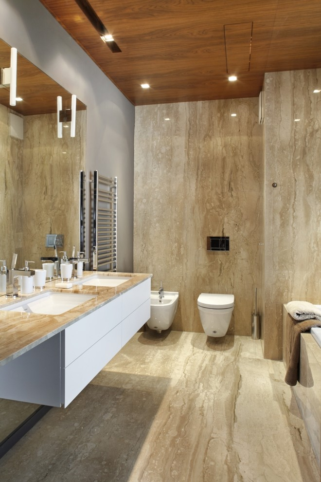 Cultured Marble Shower Bathroom Contemporary with Double Sink Floating Vanity Marble Marble Counter