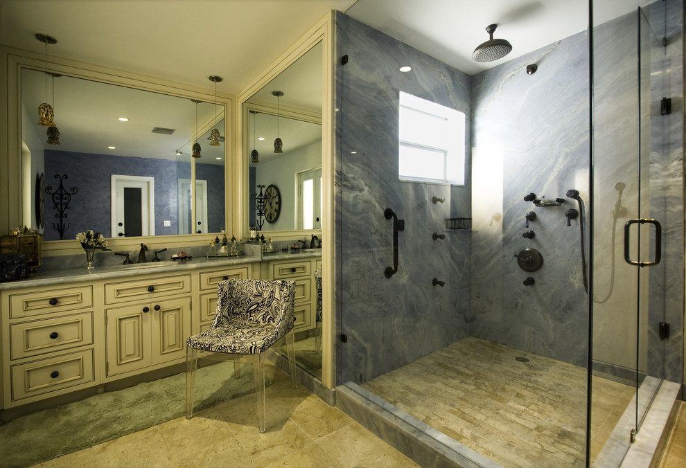 Cultured Marble Shower Bathroom Mediterranean with Cabinets Kartell Mademoiselle Chair Marble Floor Marble