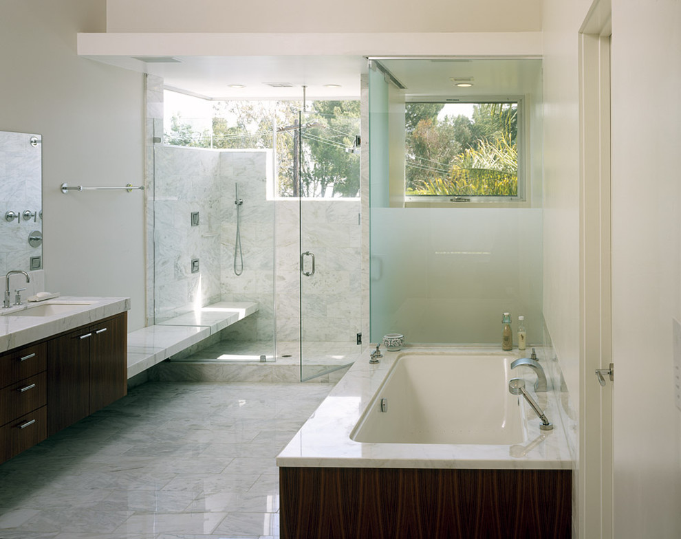 Cultured Marble Shower Bathroom Modern With Dark Stained Cabinets Frosted  Glass Glass Shower
