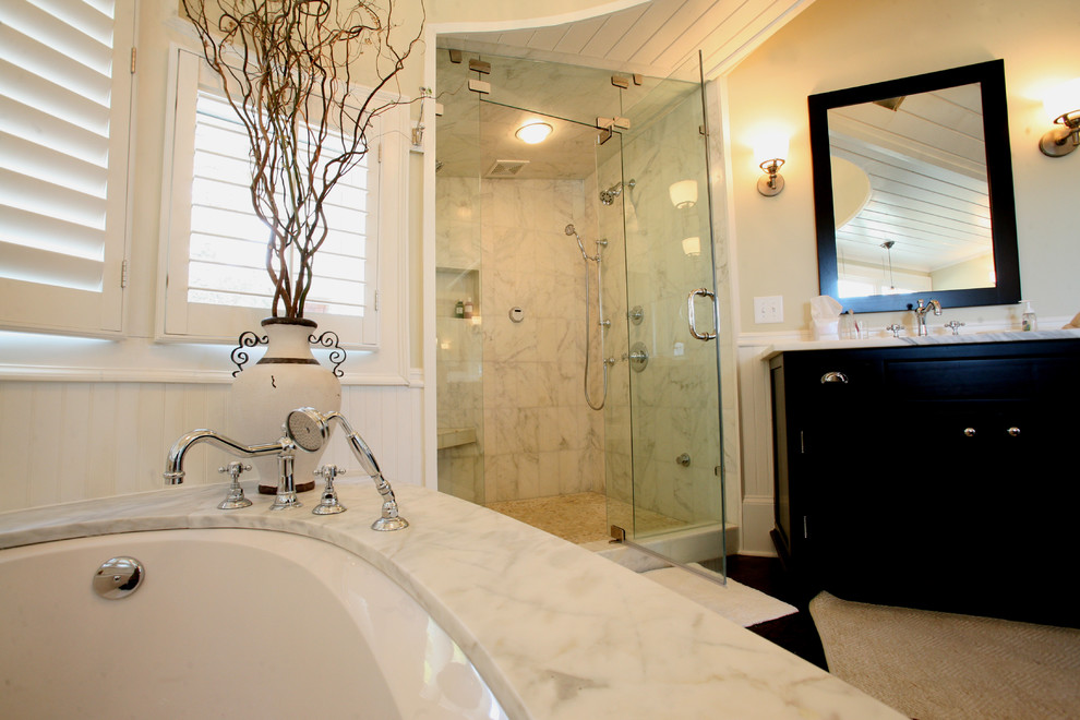 cultured marble shower Bathroom Traditional with bath fixtures bathroom mirror black and white