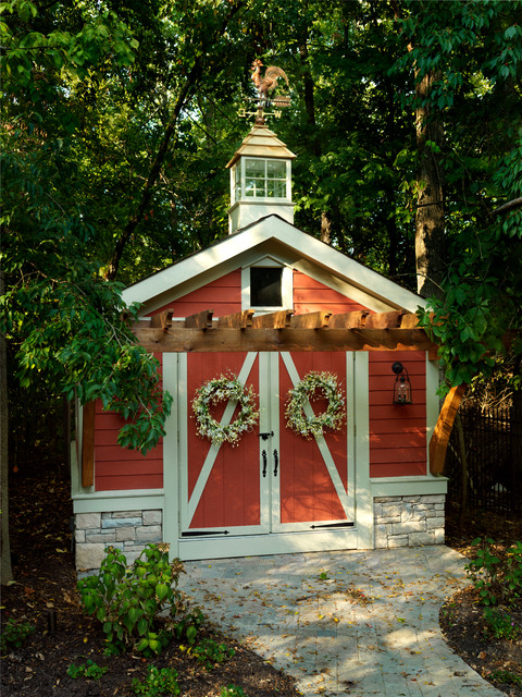 Cupolas Garage and Shed Traditional with Barn Carriage Doors Cupola Lanterns Path Red House Storage