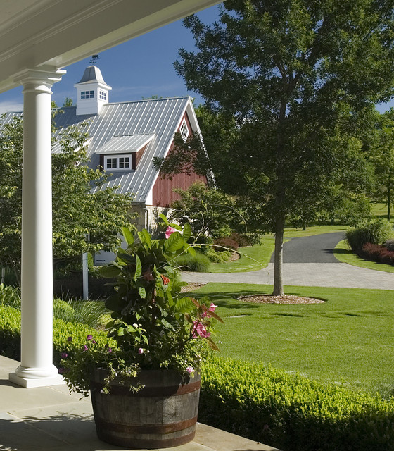 Cupolas Landscape Traditional with Barn Barrel Cupola Curved Driveway Hedge Landscaping Lawn Metal