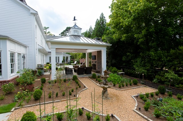 Cupolas Landscape Traditional with Covered Patio Focal Point Formal Landscape Garden Feature Mulch