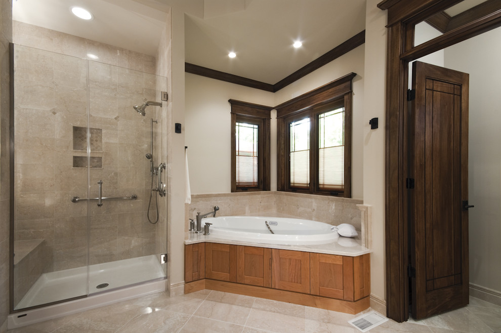 Curbless Shower Pan Bathroom Traditional with Corner Windows Crown Molding Frameless Shower Glass