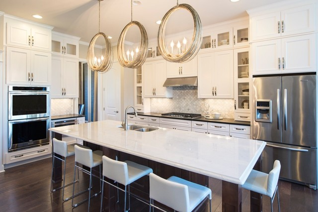 Currey and Company Lighting Kitchen Transitional with Chandelier Circular Pendants Gold Accent Island Kitchen Kitchen Kitchen