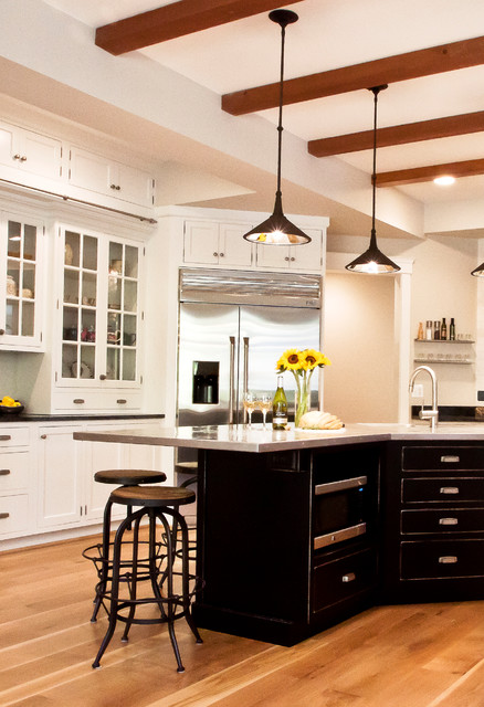 Currey Company Kitchen Contemporary with Bar Stools Beige Wall Black Cabinets Black Drawers Black
