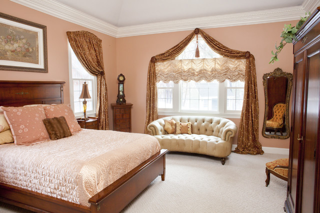 Curtain Holdbacks Bedroom Traditional with Arched Swag Austrian Shade Bedroom Bedspread Chairs Comforter Curtains