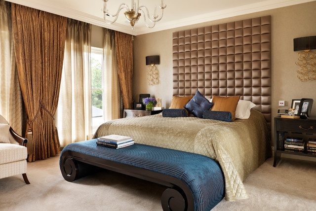 Curtain Holdbacks Bedroom Traditional with Bedroom Carpet Classic Contemporary Country House Dark Wood Nightstands