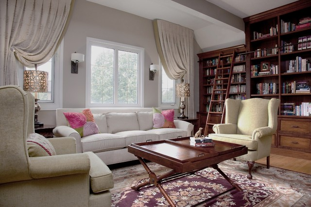 Curtain Holdbacks Family Room Traditional with Area Rug Bookcase Bookshelves Built in Storage Curtain Tiebacks Curtains