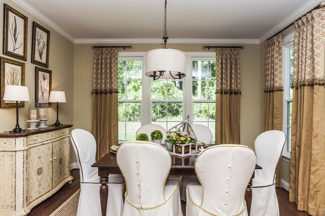 Curtain Rod Finials Dining Room Traditional with Baseboard Breakfast Nook Buffet Centerpiece Chairs Crown Molding Drapes