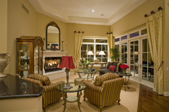 Curtain Rod Finials Living Room Traditional with Curtains Drapes Fireplace French Doors Glass Side Table Striped