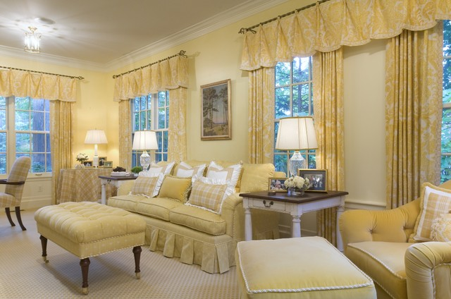 Curtains with Valance Living Room Traditional with Ceiling Lighting Curtains Decorative Pillows Drapes End Table Monochromatic