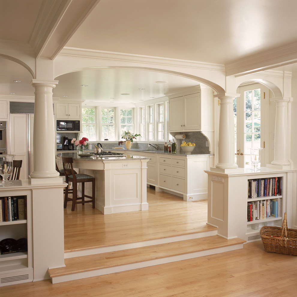 Curved Molding Kitchen Traditional with Archway Bookcase Bookshelves Built in Shelves Eat