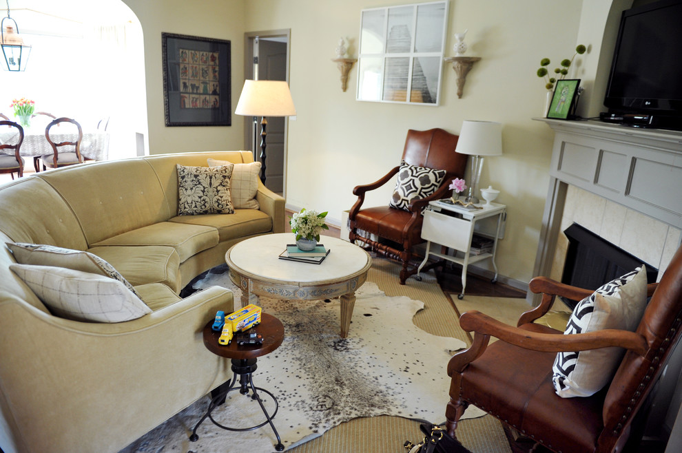 Curved Sectional Sofa Living Room Eclectic with Area Rug Corner Fireplace Cowhide Rug Curved