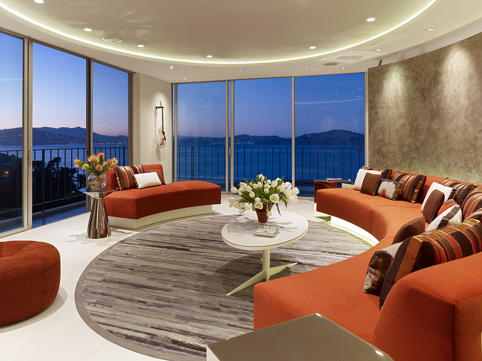 Curved Sectional Sofa Living Room Modern with Area Rug Ceiling Lighting Cove Lighting Curved