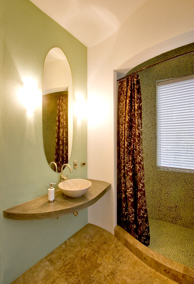 Curved Shower Curtain Rod Bathroom Southwestern with Accent Wall Bathroom Mirror Curved Walls Floating