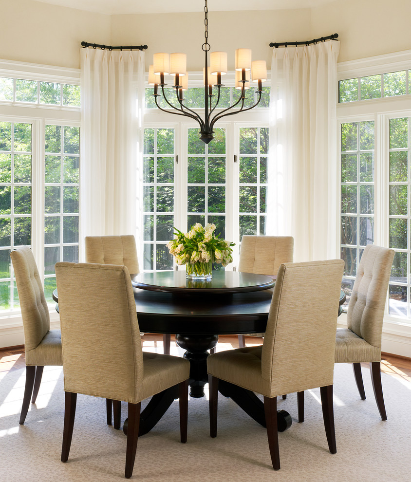 Curved Window Curtain Rod Dining Room Transitional With Bay Breakfast Champagne Drapes French Doors