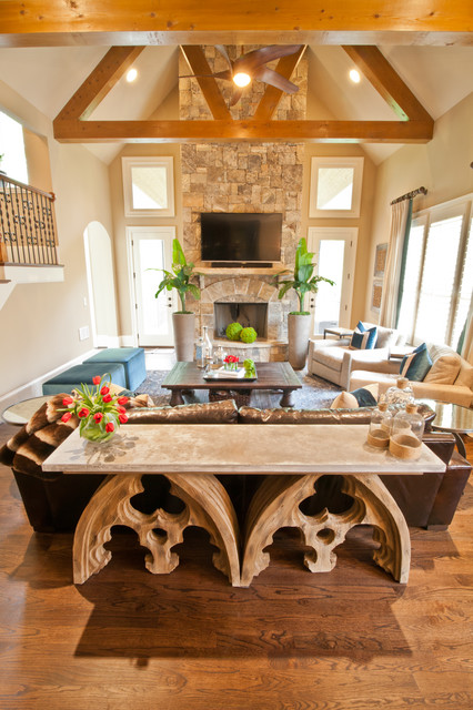 Custom Draperies Family Room Transitional with 17th Century Mixed Aged Mirrored Side Tables Arch Arched