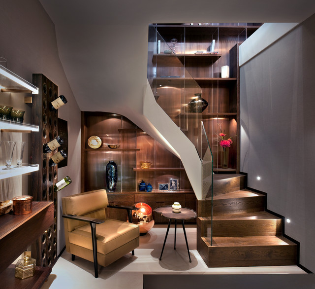 Cyan Lighting Basement Contemporary with Beige Wall Built in Bookcase Built in Shelves Curved Staircase Dark