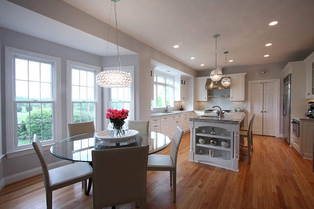 cyan lighting Kitchen Traditional with counter stools glass dining table hood island marble pantry