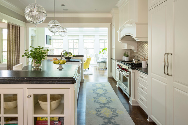 Cyan Lighting Kitchen Transitional with Ball Pendant Black Counter Brown Built in Storage Custom Oven
