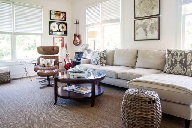 Dalworth Carpet Cleaning Living Room Farmhouse with Area Rug Artwork Cream Couch Decorative Pillows Instruments Leather