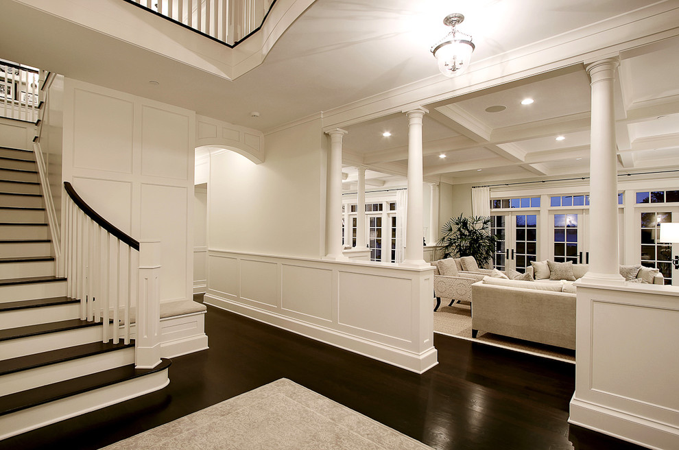 Dash and Albert Runner Entry Traditional with Area Rug Columns Frame and Panel Woodwork