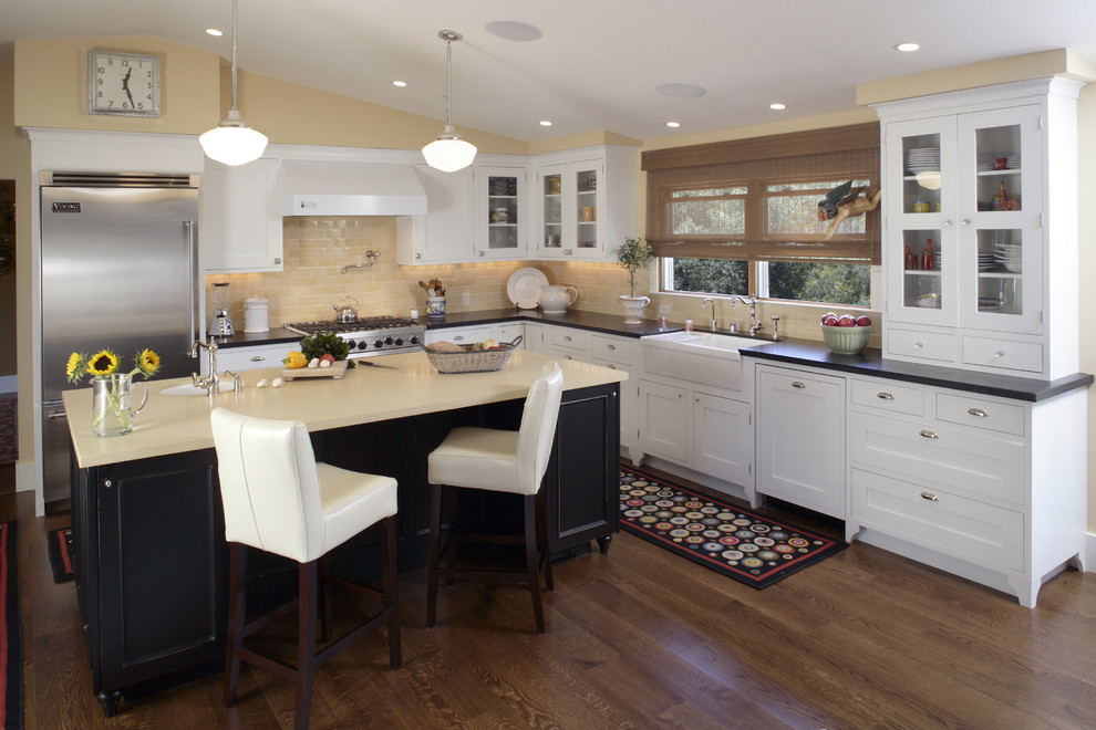 Dash and Albert Runner Kitchen Traditional with Apron Sink Breakfast Bar Ceiling Lighting Dining