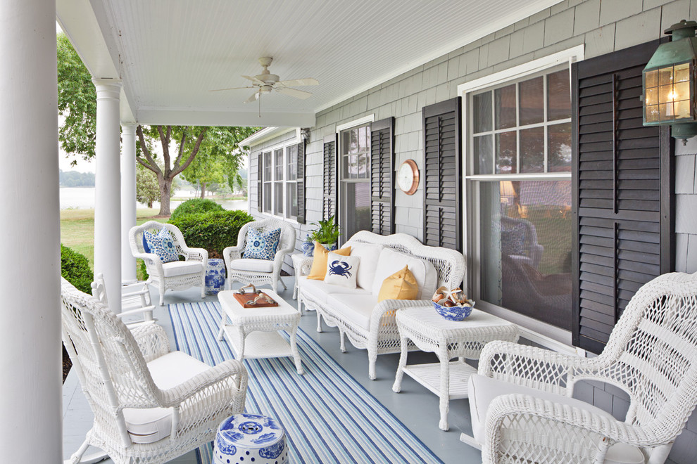 Dash and Albert Runner Porch Traditional with Bead Board Black Shutters Blue Ceiling Fan