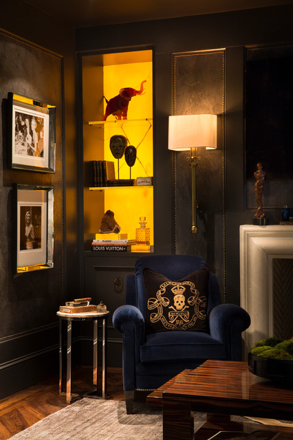 Daum Crystal Spaces Transitional with Amber Art Deco Back Lit Stone Backlit Beveled Black And