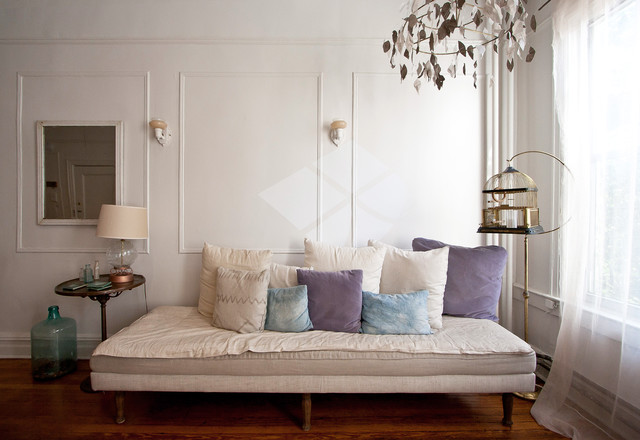 Daybed Comforters Living Room Eclectic with Birdcage Curtains Daybed Decorative Pillows Demijohn Drapes Sconce Throw