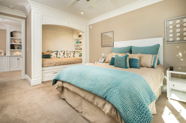 Daybed Frame Bedroom Beach with Bed Alcove Beige Carpet Blue Bedding Built in Bookshelves