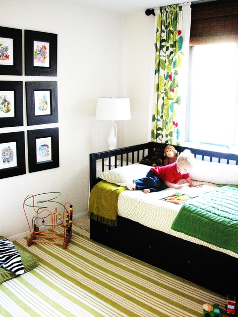 Daybed Frame Kids Eclectic with Area Rug Bedroom Bold Colors Bright Colors Curtains Day