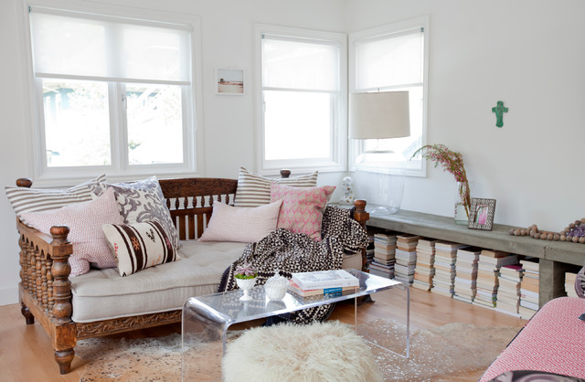 Daybed Frame Living Room Eclectic with Carved Wood Bed Clear Acrylic Coffee Table Clear Coffee