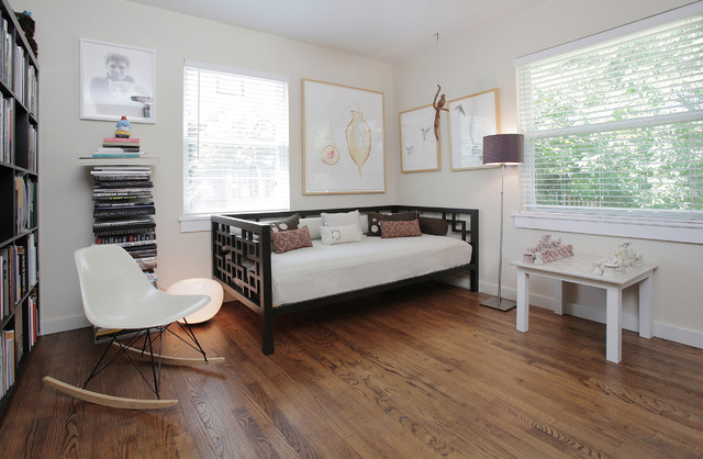 Daybed Ikea Home Office Transitional with Bookshelves Day Bed Decorative Pillows Hardwood Floors Library Neutral