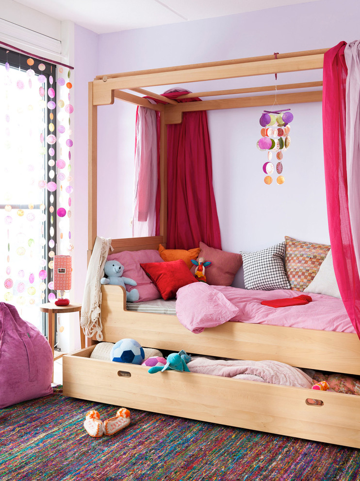 Daybed with Pop Up Trundle Bed Kids Contemporary with Area Rug Bedroom Bedside Table Canopy Bed