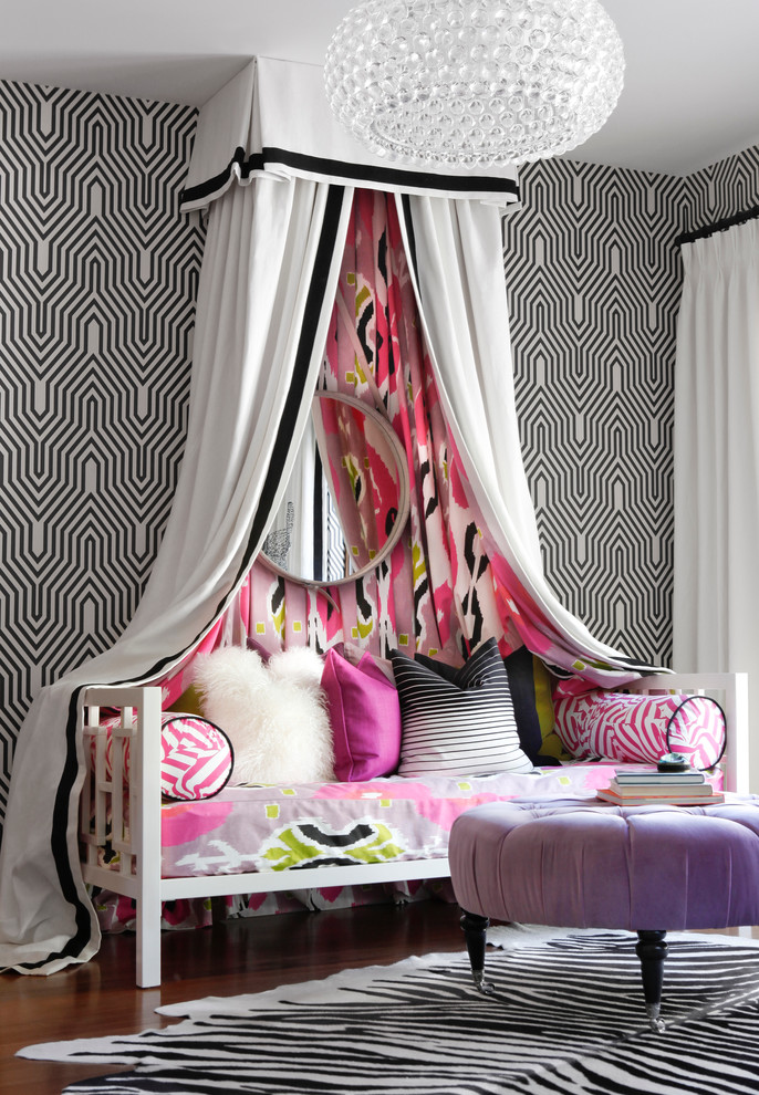 Daybeds for Girls Bedroom Contemporary with Black and White Wallpaper Bubble Chandelier Canopy1