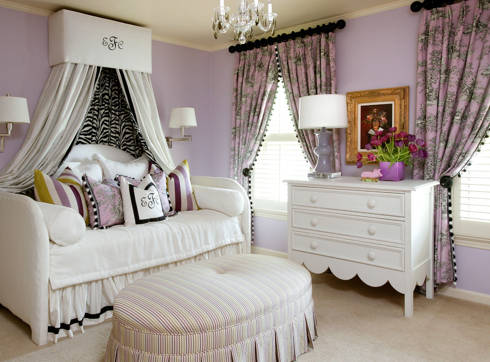 Daybeds for Girls Bedroom Traditional with Baseboard Beige Carpet Black Curtain Rod Canopy1